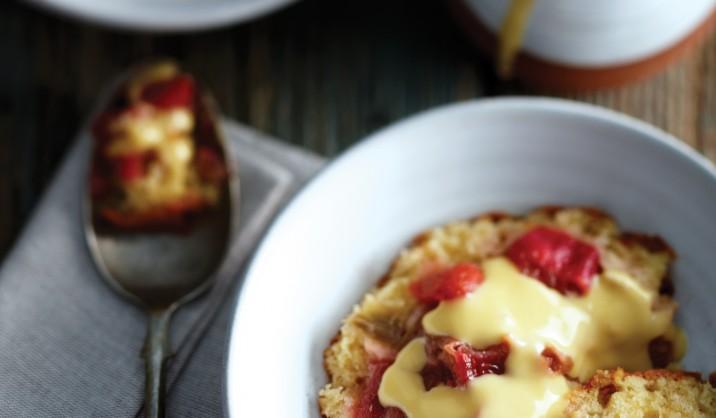 Rhubarb & Strawberry Sponge Pudding