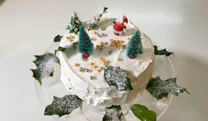 This White Christmas Cake with its layer of crisp frosting is a delicious alternative for those who do not like the traditional fruit cake.  It is best made not more than a week before Christmas.