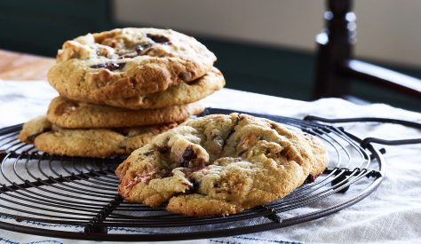 This recipe makes 8 tasty, oozy cookies