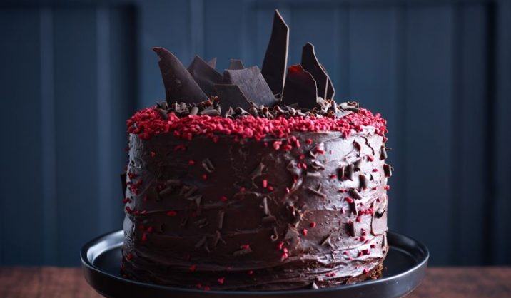 This decadent, delicious chocolate cake is a real showstopper! Topped with chocolate shards and freeze dried raspberries, our Kerrygold Softer Butter makes an outstanding sponge.
