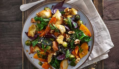 Classic Italian panzanella is actually made with stale bread, so this is a fantastic way of using up your stale bread. We're using roasted root vegetables for this winter salad, with the added crunch of walnuts.