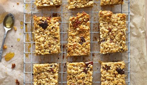 These are a wonderfully filling and energy-supplying breakfast treat! Using your favourite granola and dried fruits, it is a great way of using up any squashy bananas. I like to grate apple into these, but you could also grate in pear.