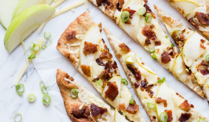 A delicious recipe consisting of Kerrygold Cheddar, crisp, salty bacon, and sweet apple slices on naan bread. The perfect comfort food for winter.